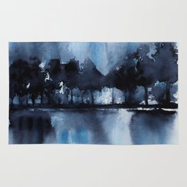 Blue Tree Reflections Rug