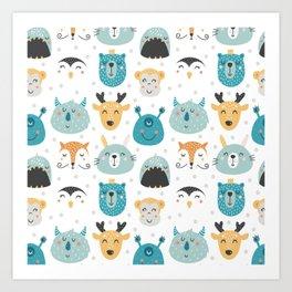 Nursery bundle cute animals Art Print