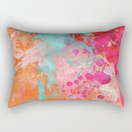 Paint Splatter Turquoise Orange And Pink Rectangular Pillow