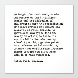 To Laugh Often And Much, Success, Ralph Waldo Emerson Quote. Canvas Print