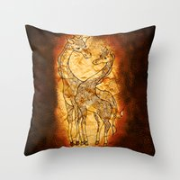 henna Throw Pillows featuring Henna Giraffe by Kari D Designs