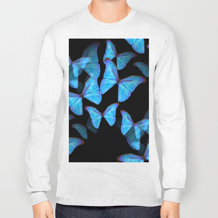 Turquoise Blue Tropical Butterflies Black Background #decor #society6 #buyart Long Sleeve T-shirt