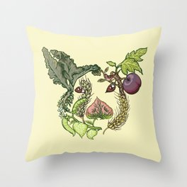 Botanical Pig Throw Pillow
