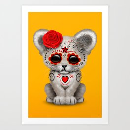 Red and Yellow Day of the Dead Sugar Skull White Lion Cub Art Print