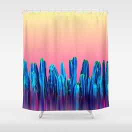 Candy Sunset Blue Cactus Glitch Shower Curtain