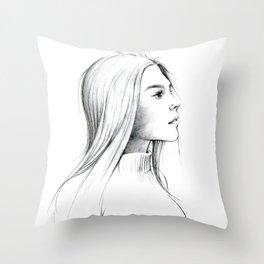 Girl with Nose Pin Throw Pillow