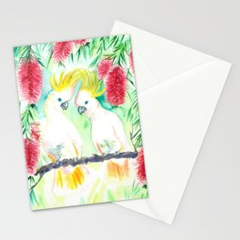 Cockatoos in bottle brush tree Stationery Cards