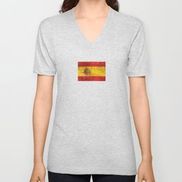 Vintage Aged and Scratched Spanish Flag Unisex V-Neck