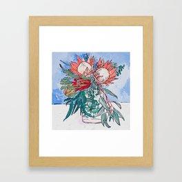 Painterly Vase of Proteas, Wattles, Banksias and Eucayptus on Blue Framed Art Print