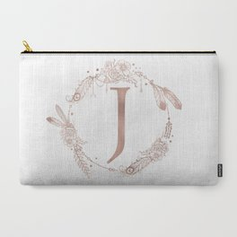 Letter J Rose Gold Pink Initial Monogram Carry-All Pouch