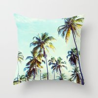 palm Throw Pillows featuring Palm by Sol&Co