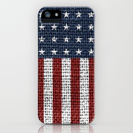 USA American Flag Rustic Jute Style 4th July Decor iPhone Case