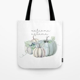 welcome autumn blue pumpkin Tote Bag