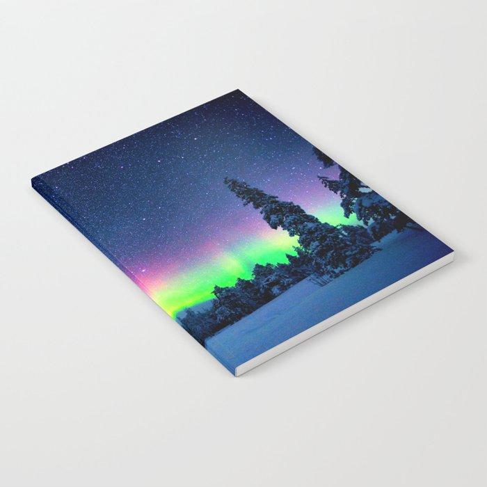 Aurora Borealis Over Wintry Mountains Notebook