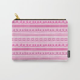 Valentine Hearts and Stripes Carry-All Pouch