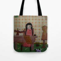 sewing Tote Bags featuring sewing by a pink dreamer