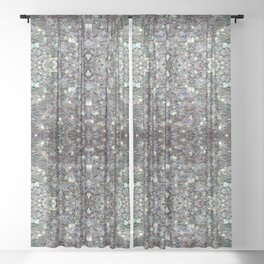 Sparkly colourful silver mosaic mandala Sheer Curtain