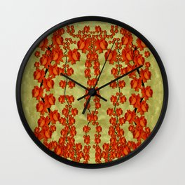 roses decorative in the golden environment Wall Clock