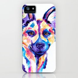 African Wild Dog, Painted Hunting Dog iPhone Case