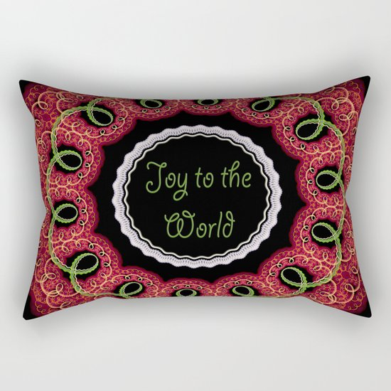 Joy to the world, swirling festive design with text Rectangular Pillow
