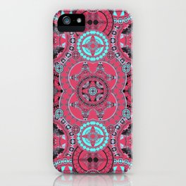 Hyperspace Mandala Coral Blue and Black iPhone Case