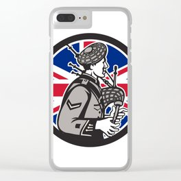 British Bagpiper Union Jack Flag Icon Clear iPhone Case