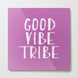 Good Vibe Tribe - Light Purple and White Metal Print