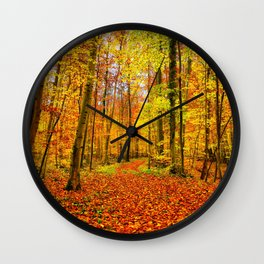 Autumn Forest with Fallen Leaves Wall Clock