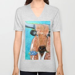 Longhorn with Bluebonnet Unisex V-Neck