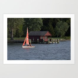Boating on the Connecticut River Art Print