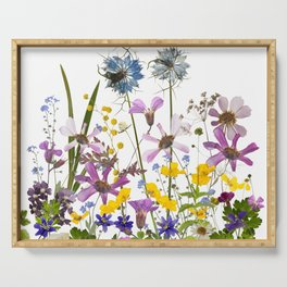 Pressed And Dried Midsummer Flowers Meadow Serving Tray