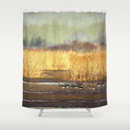 Dusky Canada Geese Wintering At Fern Ridge Shower Curtain