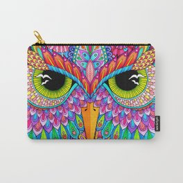 Pink Blooming Owl Face Carry-All Pouch