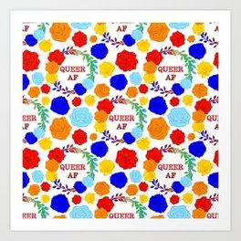 QUEER AF - A Rainbow Floral Pattern Art Print