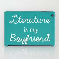 literature iPad Cases featuring Literature is my boyfriend teal by Beautiful Bibliophile's Boutique