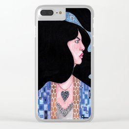 Blue(Klimt Inspired) Watercolor Painting by Grimmiechan Clear iPhone Case