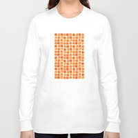 orange pattern Long Sleeve T-shirts featuring Orange Squares Pattern. by Elena O'Neill