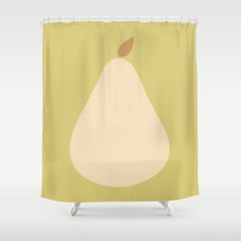 Minimal Pear Fruit - Green Shower Curtain