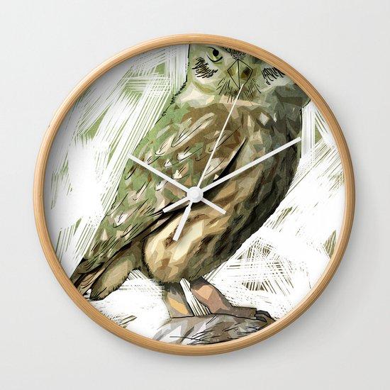Olive Owl Wall Clock