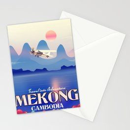 Mekong Cambodia vacation poster. Stationery Cards