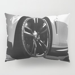 Black Rim Sports Car // White Paint Street Level B&W German Bavarian Motor Automobile Photograph Pillow Sham