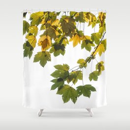 Green And Yellow Maple Leaf Shower Curtain