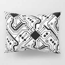 Printed Circuit Board - Black on White Pillow Sham