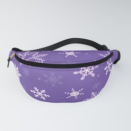 snowflakes on the blue Fanny Pack