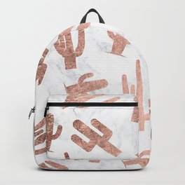 Modern rose gold cactus cacti pattern on white marble Backpack
