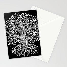 Black Tree of Life, Bohemian Tree, Black and White Tree, Boho Tree Art Stationery Cards