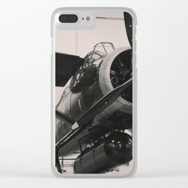 Vintage Military propeller aircraft photo print. Clear iPhone Case