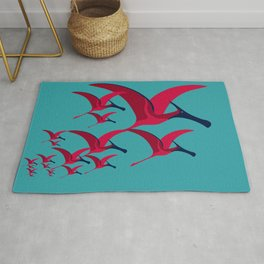 Pterodactyl Flight School Turquoise and Crimson Rug
