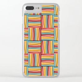striped cubes weave Clear iPhone Case