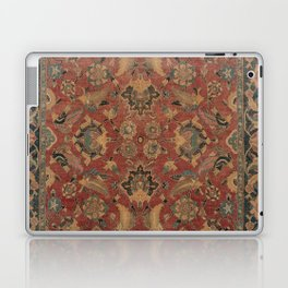 Flowery Boho Rug I // 17th Century Distressed Colorful Red Navy Blue Burlap Tan Ornate Accent Patter Laptop & iPad Skin